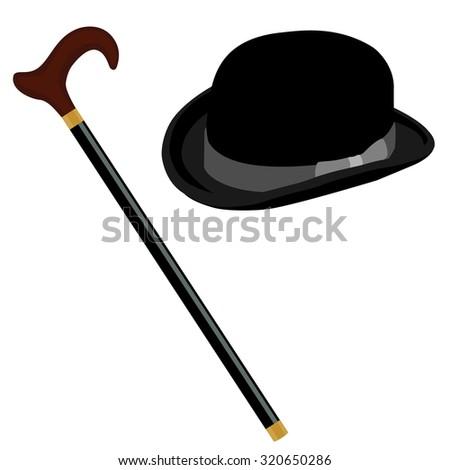 bedca4a6083d3 Black gentleman bowler hat and walking stick raster set  320650286