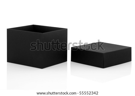 Black gift box open with lid to one side, isolated over white background with reflection.