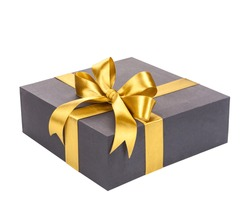 Black gift box with gold bow.