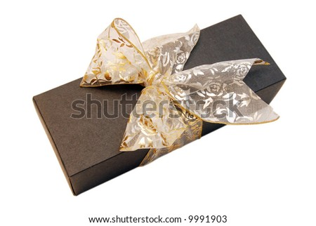 Black Gift Box with Gold Ribbon against White background