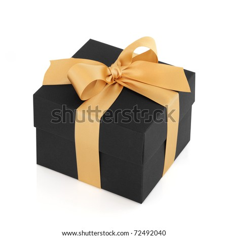 Black gift box with gold satin ribbon bow, over white background.