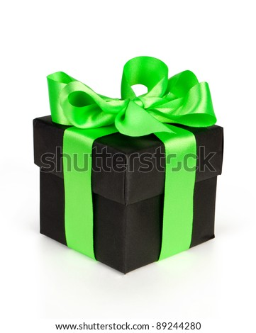 black gift box with green ribbon isolated on white - stock photo