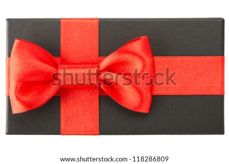Black gift box with red bow, isolated on white background - stock photo