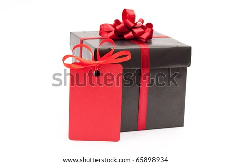Black gift box with red price tag