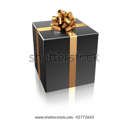 Black gift with the golden ribbon isolated on white background