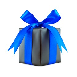 Black gift wrapped present with blue satin ribbon bow isolated on white