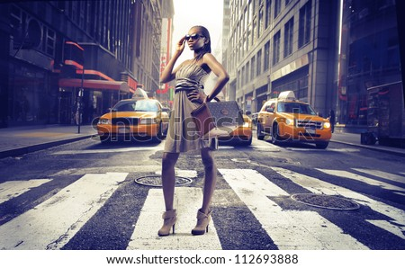 Black girl on pedestrian crossings in New York