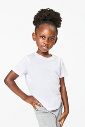 Black girl wearing white t shirt
