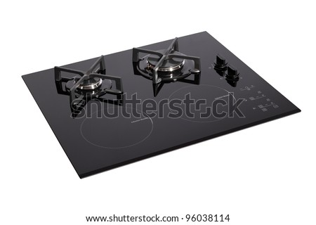 Black glass electric-gas hob isolated on white with clipping path