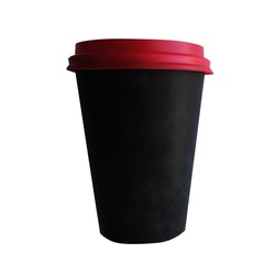 Black glass with a red lid on a white background.
