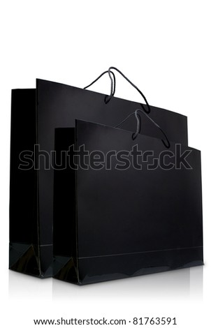 Black glaze paper shopping bags, Isolated