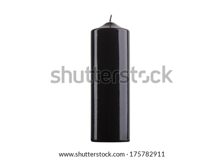 Black glossy cylinder candle isolated on white background #175782911