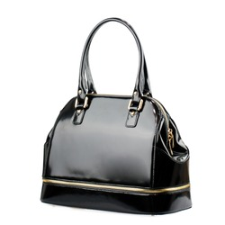 Black glossy female bag isolated on white background.