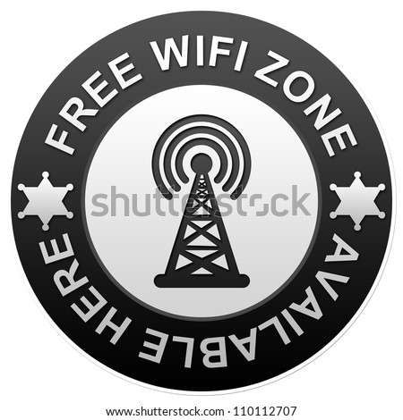 Black Glossy Free Wifi Zone Available Here Isolated on White Background