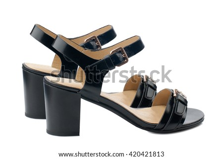 100cc8b36e6 Black glossy high heel shoes isolated on white background.Side view ...