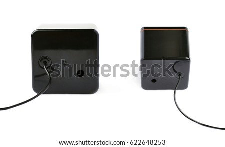 Black glossy sound speaker isolated over the white background #622648253