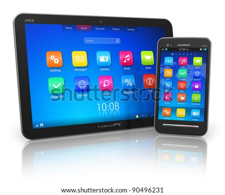 Black glossy tablet PC and touchscreen smartphone isolated on white reflective background