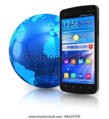 Black glossy touchscreen smartphone and blue Earth globe isolated on white reflective background