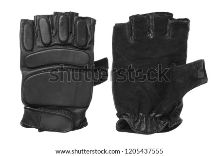 black gloves for training on a white background isolated Fitness gloves Stock photo ©