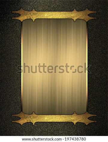 Black gold background with gold plate with patterned edges. Design template. Design site