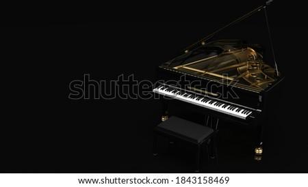 Black-Gold Grand Piano. 3D illustration. 3D high quality rendering. 3D CG. Foto d'archivio ©