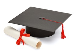 Black graduate cap with scientific degree scroll isolated on white background.