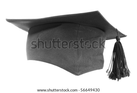 Black graduation cap isolated on white background