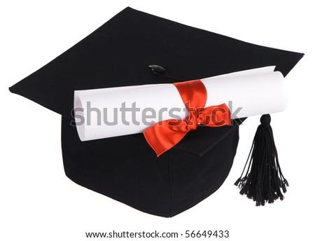 Black graduation cap isolated on white background