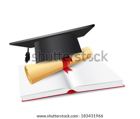 Black graduation cap with degree and book Isolated on white