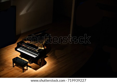 black grand piano at spot light in dark room - Shutterstock ID 719939227