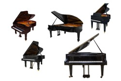 black Grand piano isolated on white background, black Grand piano isolated on white background, set of five pianos with different view and size