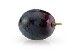 Black grape berry isolated on white background