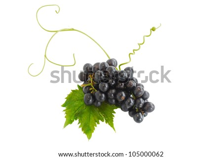 Black grape no seed with leaf  isolated on white background