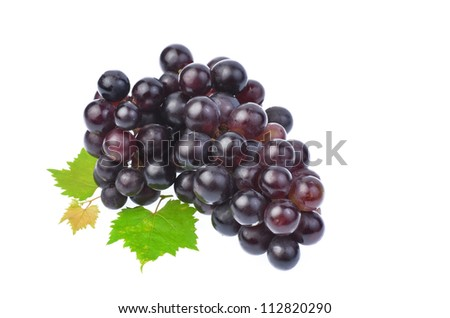 Black grape with leaf isolated on white background
