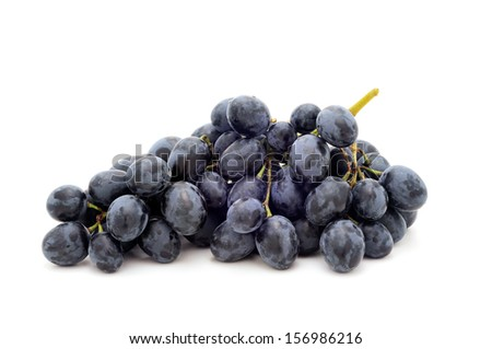 Black grapes.Isolated on a white background