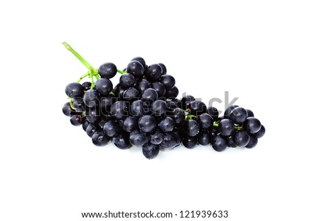 Black grapes isolated on the white background