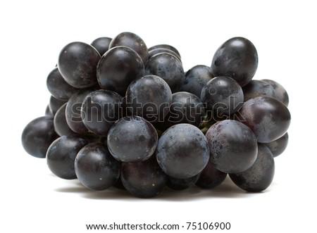 black grapes on white background