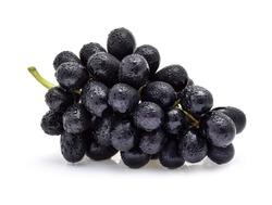 Black grapes with drop of water isolated on white background.