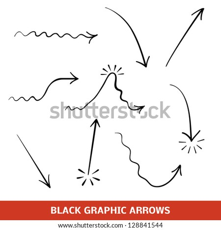Black graphic arrows set. Illustration for your business and education design. Collection of the signs displaying different types of changes. Elements for design of processes. Raster version.