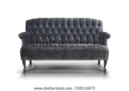 black-gray Luxurious sofa isolated on white background, front view