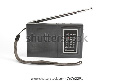 Black/gray portable radio on white background. - stock photo