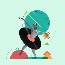 Black, green and red. Contemporary art collage. Beautiful girl ballet dancer dancing isolated over geometric background. Copy space for text, design, ad. Flyer. Square composition.