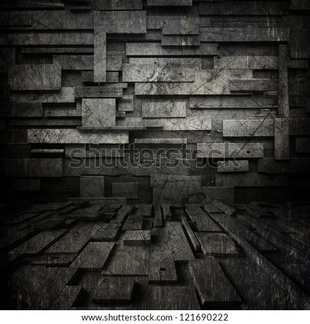 black grunge background  ; scratched metal , random  blocks