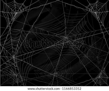Black grunge background with spider webs, illustration.