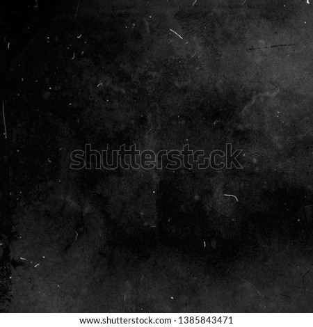 Black grunge distressed background, scary scratched dusty texture #1385843471