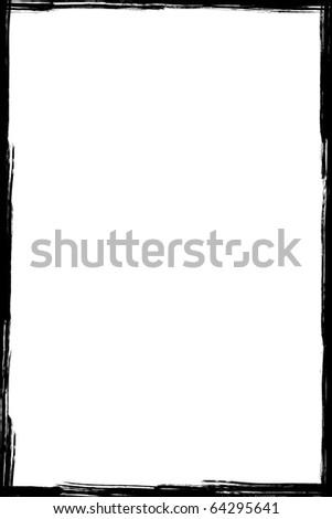Black grunge frame isolated on white background