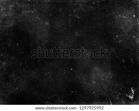 Black grunge scratched scary background, old distressed wall #1297925992