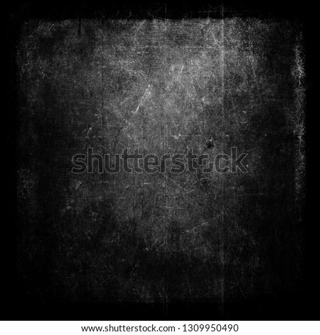 Black grunge scratched scary background, old distressed wall #1309950490