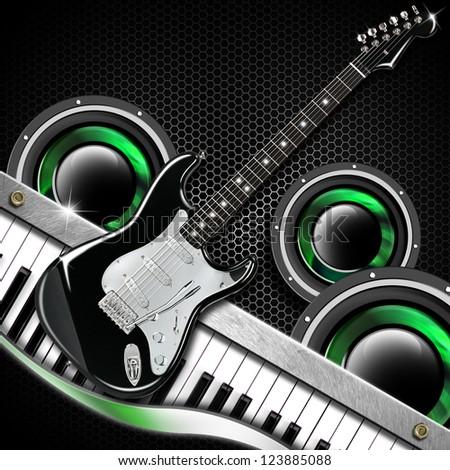 Black Guitar Hexagons Background / Music black background with hexagons, guitar, woofer and piano