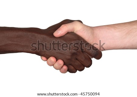 Black guy and white guy shaking hands, isolated, clipping path